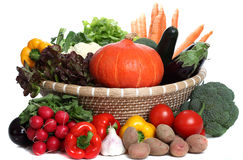 Healthy Vegetables in a Basket Royalty Free Stock Photo