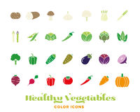 Healthy vegetables color icon collection. Set of twentyeight healthy vegetables color icons Stock Photography