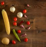 Healthy vegetables on dark boards for project. Top view. Stock Photography