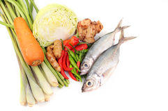 A healthy vegetables and fish. Isolated white background Royalty Free Stock Images