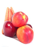 Healthy Vegetables and Fruits. (Apples, Carrots and Peaches stock photo