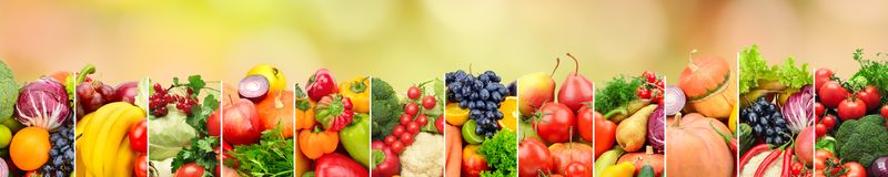Healthy vegetables and fruits on multicolored blurred background. Top view. Copy space Royalty Free Stock Images