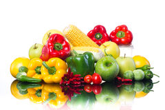 Healthy vegetables and fruits on white background Stock Photo