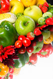 Healthy vegetables and fruits on white background Stock Image