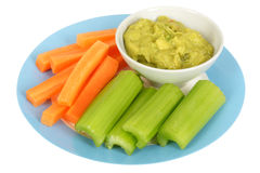 Healthy Vegetables with Guacamole Dip Stock Photos