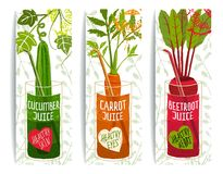 Healthy Vegetables Juices Design Collection on Royalty Free Stock Image
