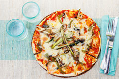 Healthy vegetables and mushrooms vegetarian pizza Royalty Free Stock Photos