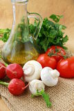 Healthy Vegetables and Olive Oil Stock Photography