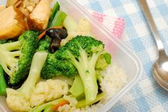 Healthy vegetables for packed lunch. Delicious Chinese vegetarian packed lunch or dinner with healthy green vegetables. Suitable for food and busy lifestyle Stock Photography
