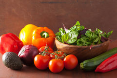 Healthy vegetables pepper tomato salad onion avocado on rustic b Royalty Free Stock Photos