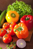 Healthy vegetables pepper tomato salad onion on rustic backgroun Stock Image
