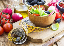 Healthy Vegetables Salad with Measure Tape.Diet Concept Royalty Free Stock Photography