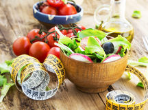 Healthy Vegetables Salad with Measure Tape.Diet Concept Stock Images