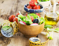 Healthy Vegetables Salad with Measure Tape.Diet Concept Royalty Free Stock Image
