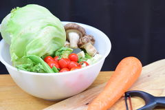 Healthy Vegetables in white bowl Stock Photo