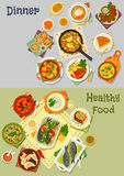 Healthy vegetarian and baked fish dishes icon set. Vegetarian and baked fish dishes icon set with cauliflower, tomato bean, rice and lentil soup, baked fish with Stock Photo