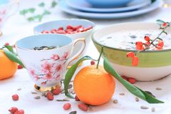 Free Healthy, Vegetarian Breakfast On The Table Royalty Free Stock Photos - 28704928