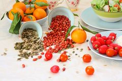 Healthy, vegetarian breakfast on the table Royalty Free Stock Photos
