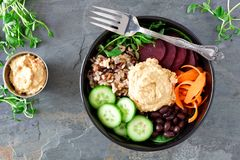 Healthy vegetarian buddha bowl on a dark background Royalty Free Stock Photography