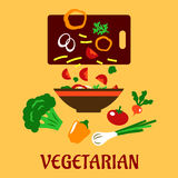 Healthy vegetarian cuisine flat concept Stock Photography