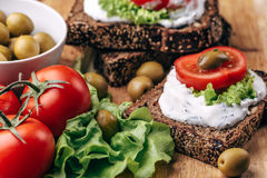 Healthy and Vegetarian diet breakfast concept. Homemade bread with cheese cream, Royalty Free Stock Image