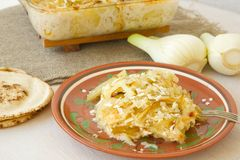 Healthy vegetarian dinner: oven baked fennel bulbs with potatoes. Stock Image