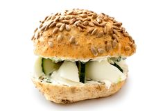 Healthy vegetarian egg and cucumber bread roll with sunflower se Stock Photography