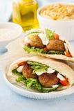 Healthy vegetarian falafel pita with fresh vegetables and hummus royalty free stock image