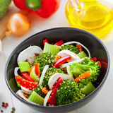 Healthy vegetarian food. Bowl of delicious salad made of vegetables.  Healthy vegetarian food Stock Photo