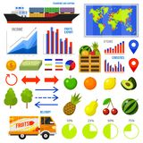 Healthy vegetarian food and fruit infographics. Vitamin Export Import, chart and icons, dieting concept, business. Information, transportation service. map Stock Photo