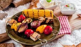 Healthy vegetarian kebabs royalty free stock image