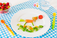 Healthy vegetarian lunch for little kids, vegetabl Stock Image