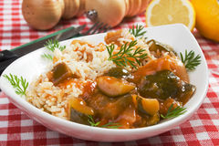 Healthy vegetarian meal. Rice and vegetables, tasty and healthy vegetarian meal Royalty Free Stock Images
