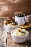 Healthy vegetarian meal. Mashed potatoes, pickled mushrooms, se stock photography