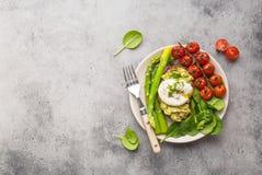 Healthy vegetarian meal plate stock image