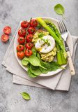 Healthy vegetarian meal plate stock photo