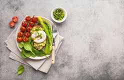 Healthy vegetarian meal plate stock photos