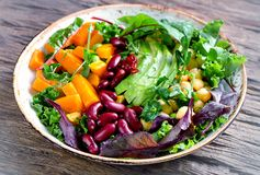Healthy vegetarian nourishment bowl. Balanced diet. Healthy food concept Royalty Free Stock Image