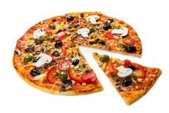 Healthy vegetarian pizza with mushrooms isolated Stock Photography