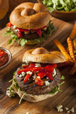 Healthy Vegetarian Portobello Mushroom Burger Stock Photo