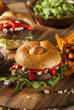 Healthy Vegetarian Portobello Mushroom Burger Stock Photos