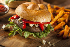 Healthy Vegetarian Portobello Mushroom Burger Stock Images