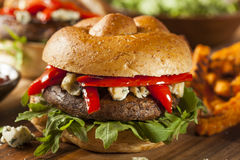 Healthy Vegetarian Portobello Mushroom Burger. With Cheese and Veggies stock image
