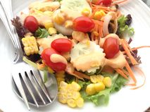 Healthy vegetarian salad. A fresh healthy dish from garden on top with thousand Island salad Stock Photo