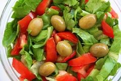 Healthy vegetarian Salad on the glass plate Royalty Free Stock Photography