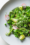 Healthy vegetarian salad with spinach, radishes and asparagus Stock Photos