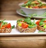 Healthy vegetarian sandwiches Stock Photos