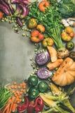 Healthy vegetarian seasonal Fall food cooking background, copy space. Healthy vegetarian seasonal Fall food cooking background. Flat-lay of Autumn vegetables and royalty free stock photo