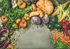 Healthy vegetarian seasonal Fall food cooking background with fresh vegetables stock photography