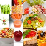Healthy Vegetarian vegan food collage. Nested on white frame Stock Images